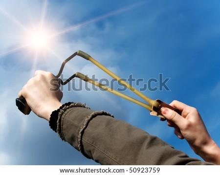 Weapon  throwing   slingshot - stock photo
