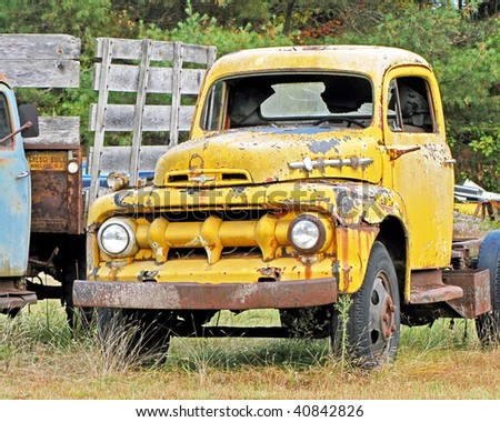 Weathered antique truck. - stock photo