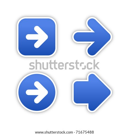 4 web 2.0 button stickers arrow sign. Smooth cobalt shapes with shadow on white. Bitmap copy my vector ID: 57200332 - stock photo