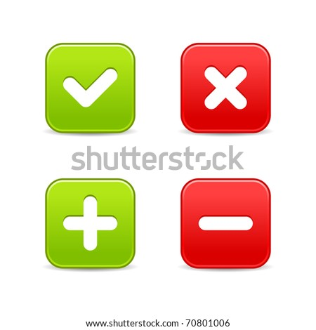 4 web 2.0 buttons of validation icons. Colored smooth shapes with shadow on white. Bitmap copy my vector ID: 57053335 - stock photo