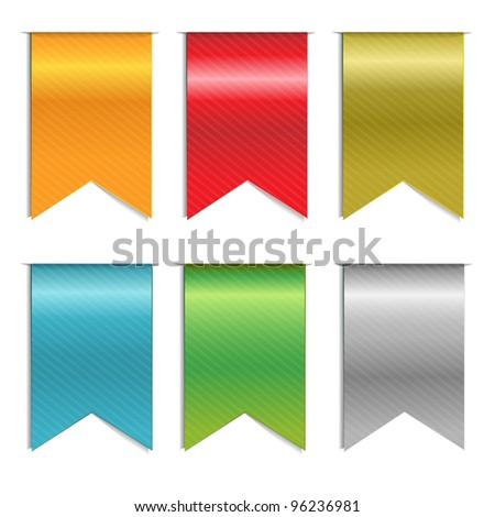 6 Web Ribbons, Isolated On White Background - stock photo