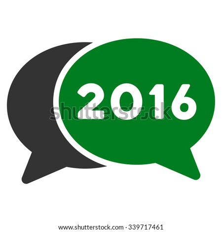 2016 Webinar glyph icon. Style is bicolor flat symbol, green and gray colors, rounded angles, white background. - stock photo