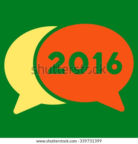 2016 Webinar glyph icon. Style is bicolor flat symbol, orange and yellow colors, rounded angles, green background. - stock photo