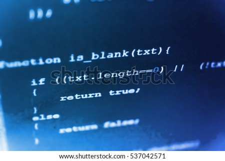 Website programming code. Binary digits code editing. Programming of Internet website. Programming code abstract screen of software developer. Software engineer at work.