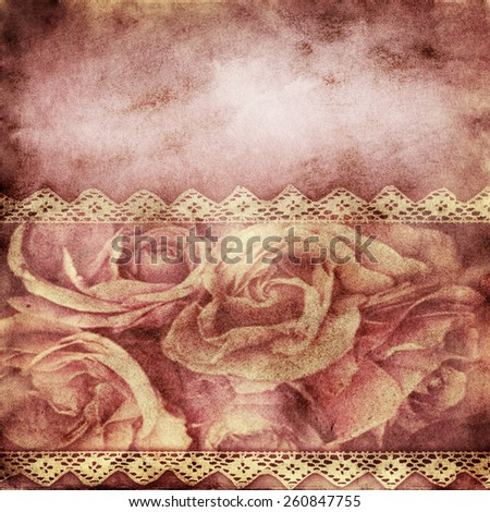wedding background with  horizontal roses banner and lace