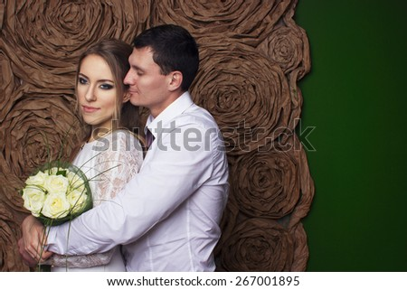 Wedding beautiful couple in love - stock photo