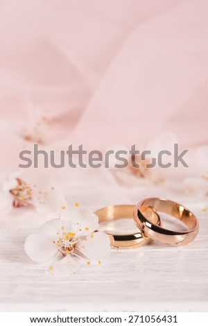 Wedding concept with flowers apricots in pink - stock photo