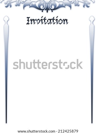 wedding invitation card on the white background