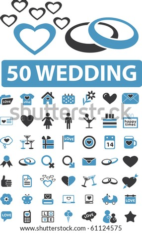 50 wedding signs. - stock photo