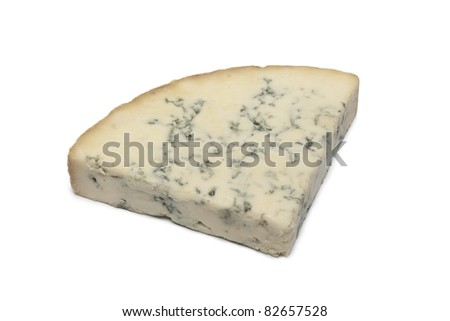 Wedge of Blue Stilton cheese on white background