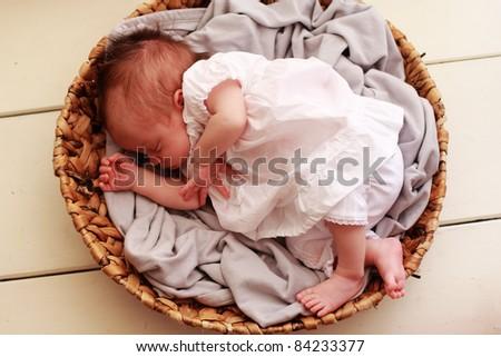 2 weeks old beautiful baby - stock photo