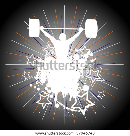 Weight Lifting. The vector version of this picture is available in my portfolio. - stock photo