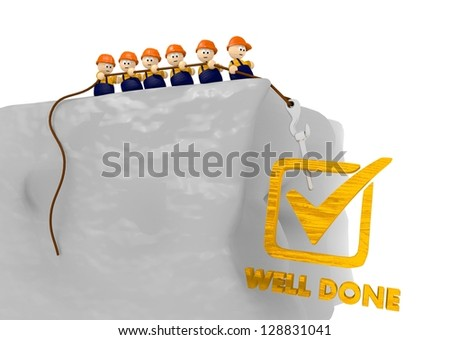well done comic 3d illustration with cute construction site characters - stock photo