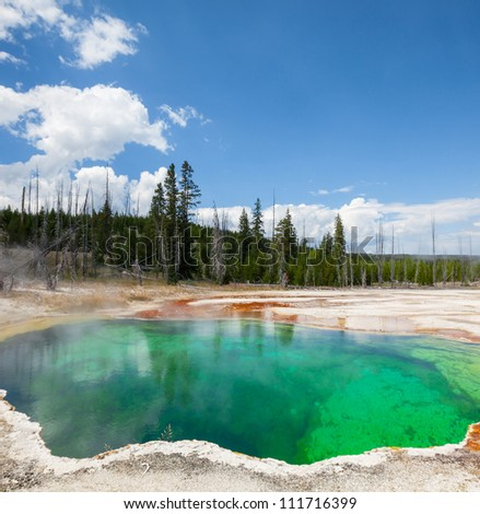 West Thumb Geyser Basin in Yellowstone National Park - stock photo