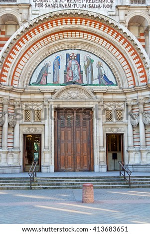 westminster  cathedral in london england old construction  and religion - stock photo