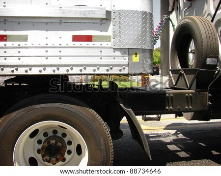 18 wheel semi truck close up - stock photo