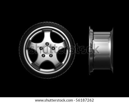 Wheel with steel rim isolated on black background.Easy editable for your design. 3d - stock photo
