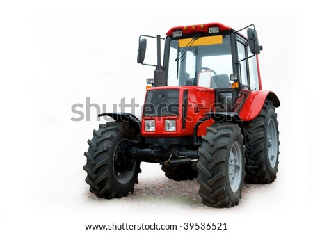 wheeled tractor on a white background - stock photo