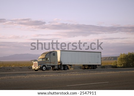 18-Wheeler Traveling on an Interstate