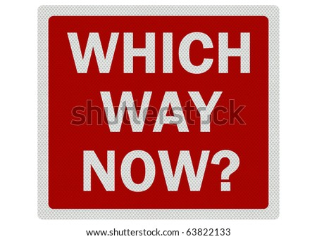 'Which Way Now?' bright, clean photo realistic sign isolated on pure white