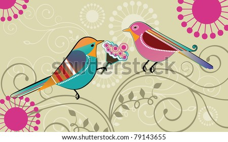 Whimsical birds ; Male bird presenting a bouquet of flowers - stock photo