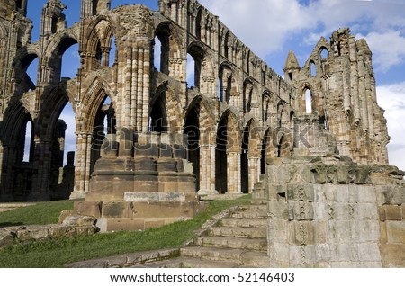 Whitby Abbey, Yorkshire, England, lit by the evening sun.  Setting of early chapters of Dracula by Bram Stoker.