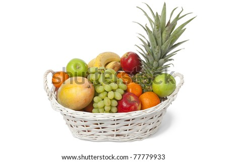 White basket with a variety of fresh fruit on white background