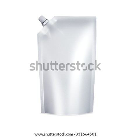 White Blank doypack food bag packaging with spout lid for ketchup, mayonnaise, condensed milk, cheese, sauce, liquid, cream, mousse, honey, chocolate, butter products.. Isolated on white background - stock photo
