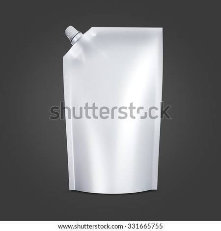 White Blank doypack food bag packaging with spout lid for ketchup, mayonnaise, condensed milk, cheese, sauce, liquid, cream, mousse, honey, chocolate, butter products.  Isolated on black background - stock photo
