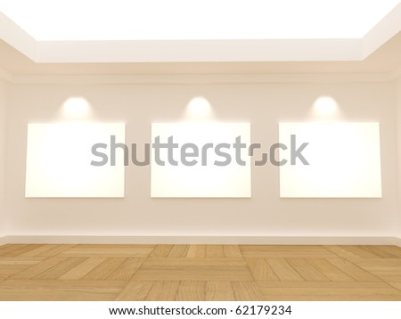 3 white blank frames in the empty room - stock photo