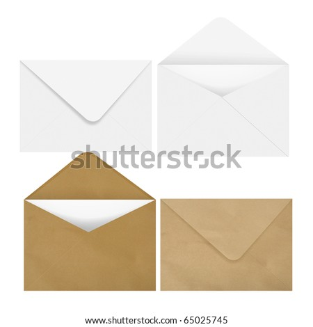 2 White & 2 brown envelope - stock photo
