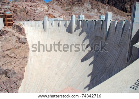 white cement Hoover Dam in a sunny day - stock photo