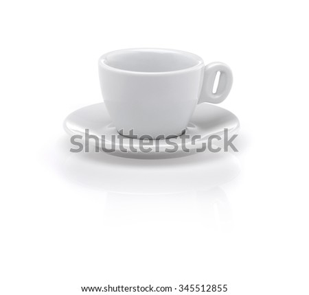 White coffee cup and plate isolated on white background