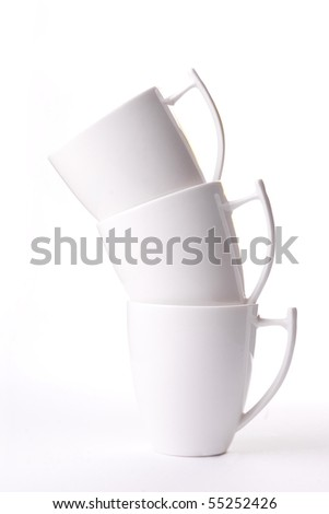 3 white cup isolated on white - stock photo