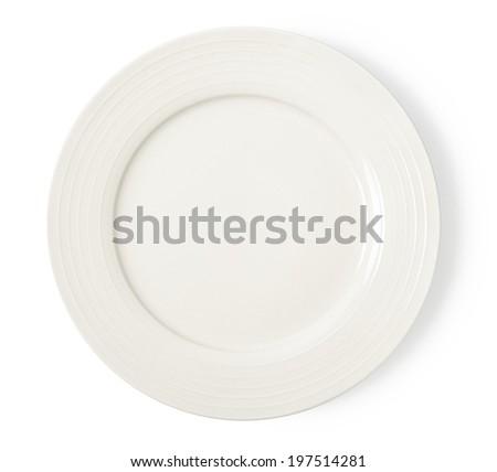White empty plate on white background - stock photo
