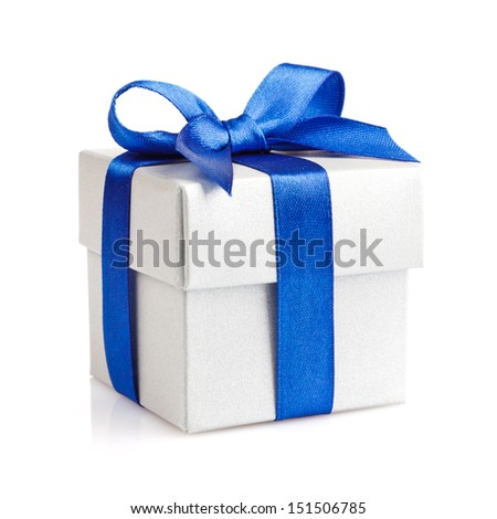 white gift box with blue ribbon and bow isolated on white top view - stock photo