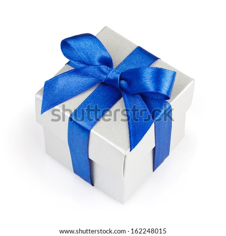 white gift box with blue ribbon and bow isolated with clipping path