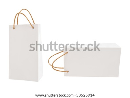White gift packages on a white background - stock photo