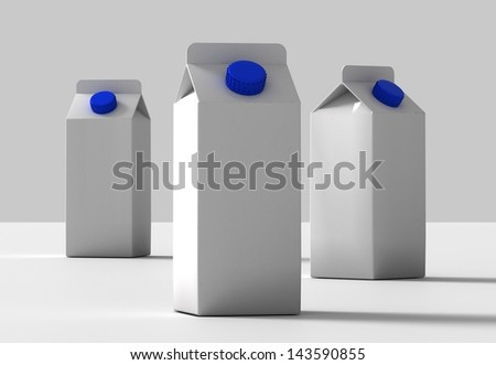 white packages with milk