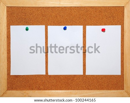 3 White Paper pinned on Cork board background - stock photo