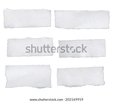 white paper tears, isolated on white - stock photo