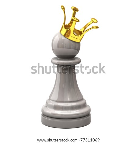 White pawn with a golden crown