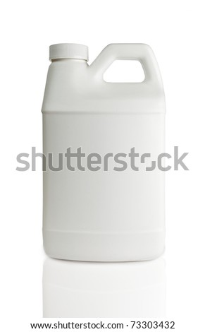 white  plastic bottle isolated on a white background - stock photo