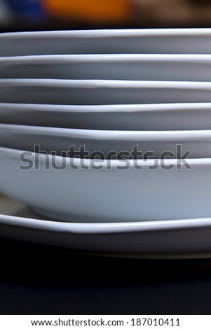 White plate on a black background