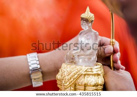White Quartz Buddha Image,White Glass Buddha Image,Pra Setangka Mumni in Chiang Mai Thailand - stock photo