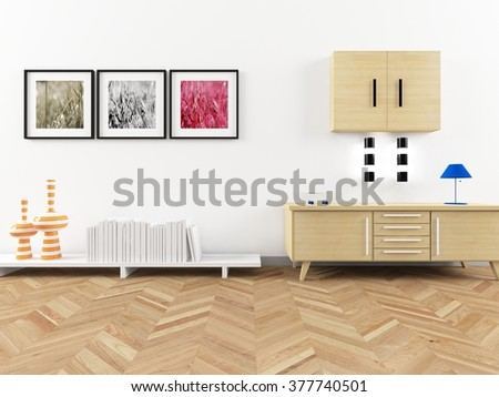 white room with dresser.3d concept - stock photo