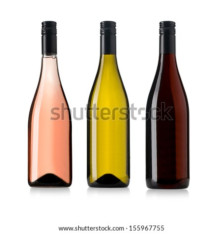 white, rose, and red wine bottles set isolated on white - stock photo
