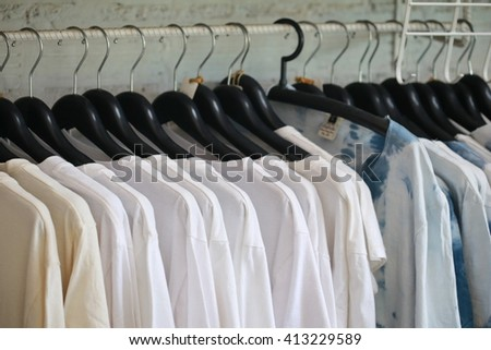 white t shirt in shop - stock photo
