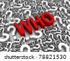 """WHO"" 3D text surrounded by question marks. Part of a series. - stock photo"