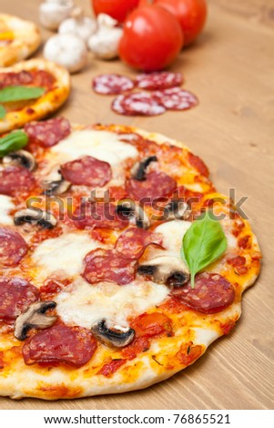 whole salami and mushrooms pizza with ingredients - stock photo